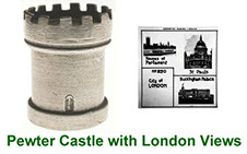 Miniature castle collectable in pewter with peep