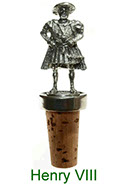 Wine bottle stopper with pewter Henry VIII figure