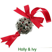 Holly & Ivy pewter pomander with pot pourri