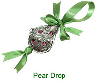 Pear Drop pewter pomander with pot pourri