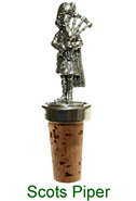 Wine bottle stopper with pewter Scots piper figure
